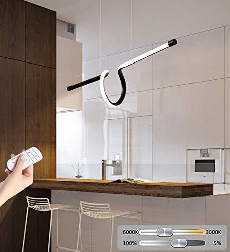 MUZIDP Luz del colgante LED Lámpara de oficina Dimmable Lámpara de oficina moderna de la lámpara de araña Luz de techo Ajustable Altura Ajustable Metal Acrílico Lámpara Colgante con comedor remoto Mes