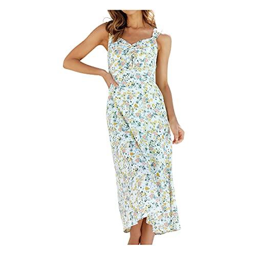 Damen Ärmellos Kleider Camisole Minikleider Einfarbig A Linie Sommerkleid Elegant