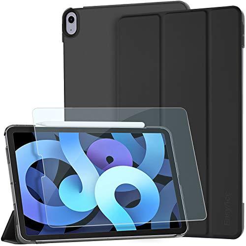 EasyAcc Custodia Cover Compatibile con iPad Air 4 Generazione 10.9 2020 con Vetro Temperato Pellicola Protettiva, Ultra Sottile in Pelle PU, Nero