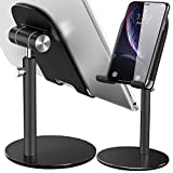 Swhatty Cell Phone Stand, Aluminum iPad Tablet Stand Holder for Desk, Angle Height Adjustable iPhone Stand, Compatible with iPhone iPad Pro, Air, Mini 4 3 2, Kindle, (4-12.9'')-Black