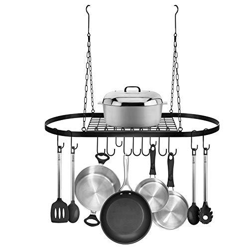 Küchenregal,Deckenbefestigung,Herd-Regal,10 S förmigen Haken Metall Schwarz zum Organisieren von Kochutensilien