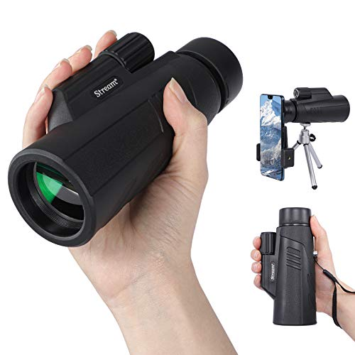 Monocular Telescope for Adults, 10 X 42 High Power Pocket Monocular Starscope, Handheld Telescope with Mobile Phone Adapter and Tripod, Fit for Hiking Hunting Bird Watching Camping