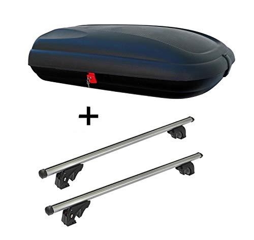 Dachbox VDPBA320 320Ltr carbonlook abschließbar + Dachträger VDPLION1 kompatibel mit Kia Cee'D (ED) Sportswagon (5 Türer) 06-12