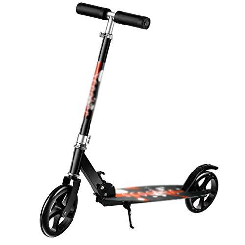 YLJJ Scooter Plegable de Ruedas Grandes para Adultos, para niños de 8 años en adelante, Negro