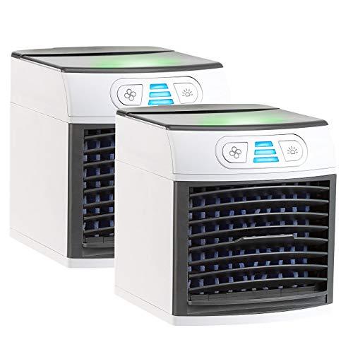 Sichler Haushaltsgeräte Mini Klimaanlage: 2er-Set 2in1-Tisch-Luftkühler und -Luftbefeuchter LW-110 (Wasserkühler)