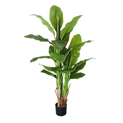 Maiaro Árbol Artificial Banano,5Ft Debajo De Las Hojas, Tiene Un Alambre De Acero, Artificial, Oficina, Invernadero, Interior, Jardín, Planta De Jardín (con Yeso, Olla Negra Fija)