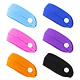 Finrezio 6PCS Headbands with Button for Women Men Head Wrap Face Cover Holder for Nurses Non Slip Hair Bands for Yoga Sports Running Washing Face