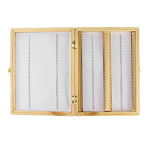 QWORK Wooden Slide Storage Box, 100 Place Slide Security Storage Box for Holding Microscope Slides Securely