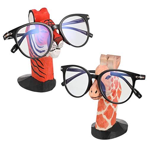 Sportstorm 2 Stück Holzbrillenhalter, Tierbrillenhalter, handgeschnitzter Lesebrillenhalter Ständer für Brillen Home Office Schreibtisch Dekor, Giraffe und Tiger