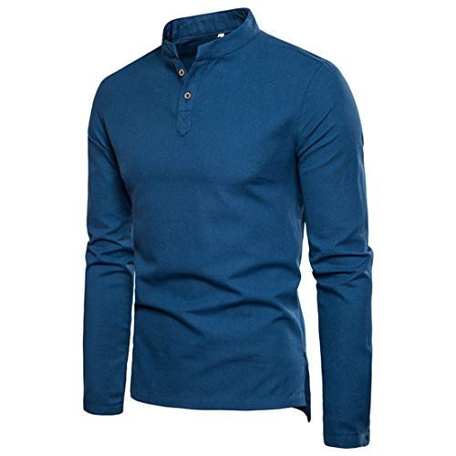 MENSU T-Shirt for Men Long Sleeve Solid Color Oversized Henley Shirts Tops Dress Shirt Mens Casual Fashion Cotton Linen Buttons Slim Fit Formal Bussiness Office Work Tshirt Blue