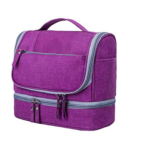 Heall Neceser para Colgar artículos de tocador Organizador cosmético del Bolso Impermeable DOP Kit de Gran Capacidad en seco y en húmedo Separación de Lavado Bolsa de Suministro (púrpura) de Belleza