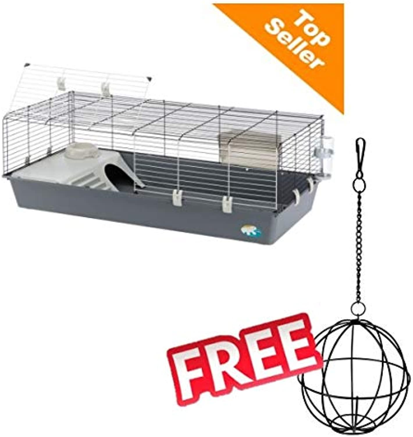 Ferplast Rabbit & Guinea Pig Cage 120 Spacious with Split Folding Screen with Basic Equipment Bar Spacing 2.5cm. Easy Access Waterbased Grating Colour Grey 118 x 58.5 x 51.5 cm FREE Trixie Food Ball