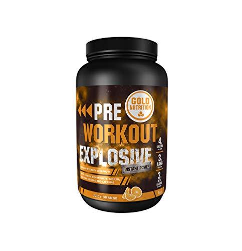 Goldnutrition Pre Workout Explosive 1kg, Naranja Jugosa, Aumentar Energía