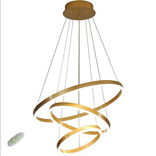 LLLKKK Moderna lámpara colgante LED regulable, de oro cepillado, altura regulable, 3 anillos (30 + 40 + 60 cm), lámpara colgante para dormitorio, comedor, lámpara de techo, regulable sin niveles