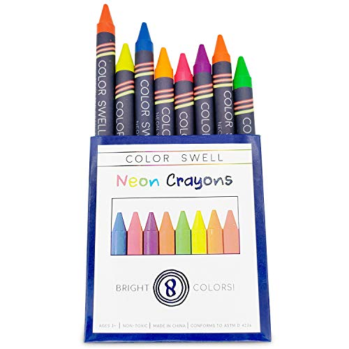 Color Swell Neon Crayon Pack - One Box of Fun Neon Crayons of Teacher Quality Durable for Kids Students Party Favors
