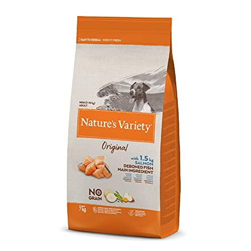 Nature's Variety Original No Grain - Pienso para perros adultos mini con salmón sin espinas 7 Kg