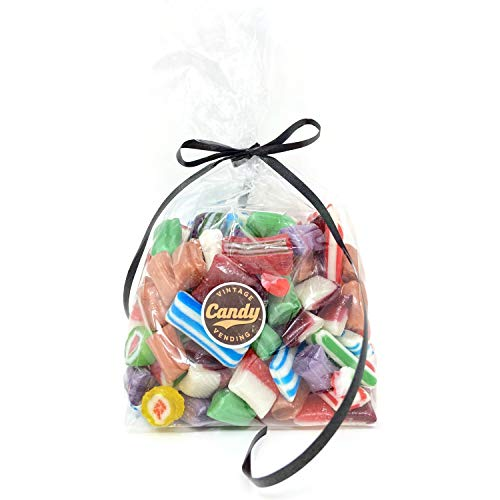 Old Fashion Hard Candy Assortment, Cut Rock Candy & Baby Ribbon Candy in Mix, Bulk Gift Bag (One pound)