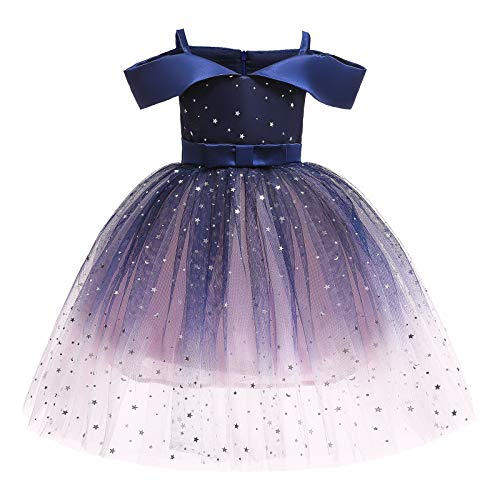Flower Girls Sequins Stars Off Shoulder Dress for Kids Princess Pageant Wedding Party Straps Dress Formal Communion Birthday Gradient Color Puffy Tulle Dresses Navy Blue - Off Shoulder 2-3 Years