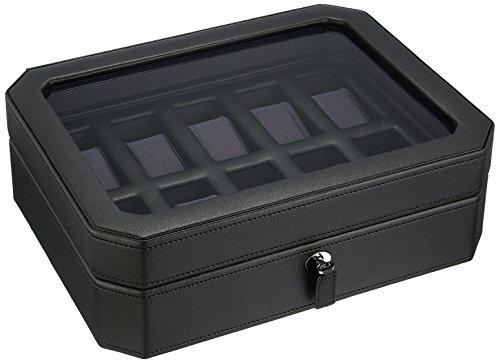 WOLF 458403 Windsor 10 Piece Watch Box, Black
