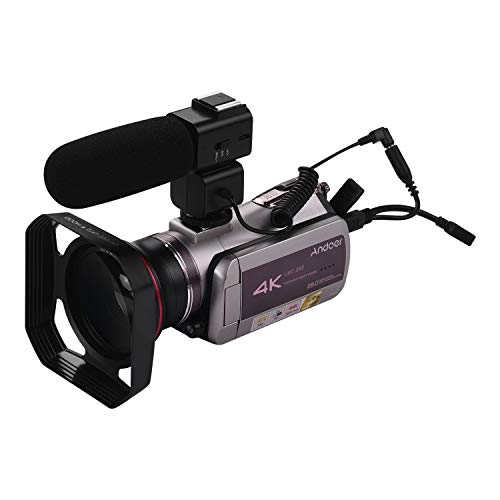 Camcorder 4K Video Camera, Andoer WiFi 30FPS Vlog Camera 64X Digital Zoom IR Night Vision 3.1 Inch IPS Touchscreen Video Recorder with Super Wide Angle Lens External Stereo Microphone Remote Control
