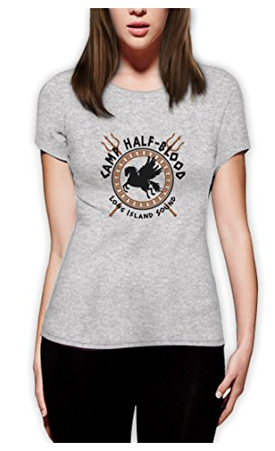 Camp Half Blood Gods Frauen Grau Medium T-Shirt Slim Fit