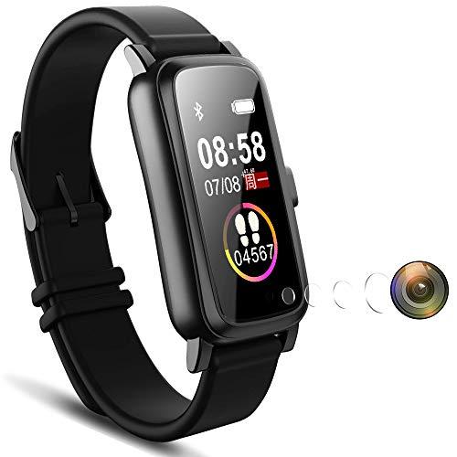 Reloj Espía Inteligente IP68 Impermeable Usable Lente de Agujero de Leva Invisible Oculta Mini Cámara Espía Pantalla Táctil de Video 1080P Fitness Tracker Reloj Espía de Pulsera para Smartphone 32GB