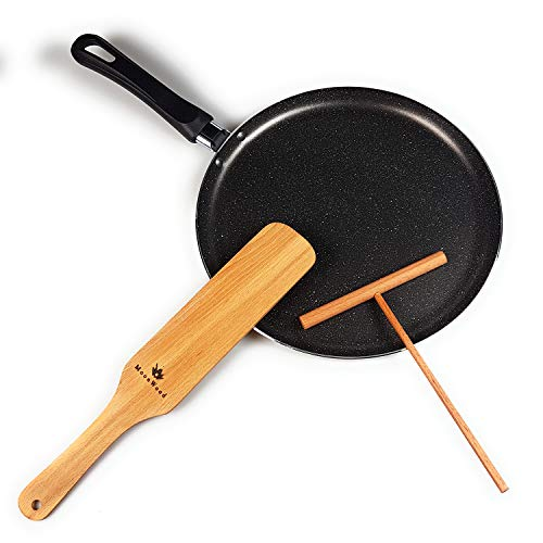 Black Crepe Pan, With PFOA Free Nonstick Coating - Made in Europe MarbTech Pan for Egg Omelet and Flat Pancake - Dishwasher Safe (10.23) - with Wooden Crepe Spreader and Spatula Set