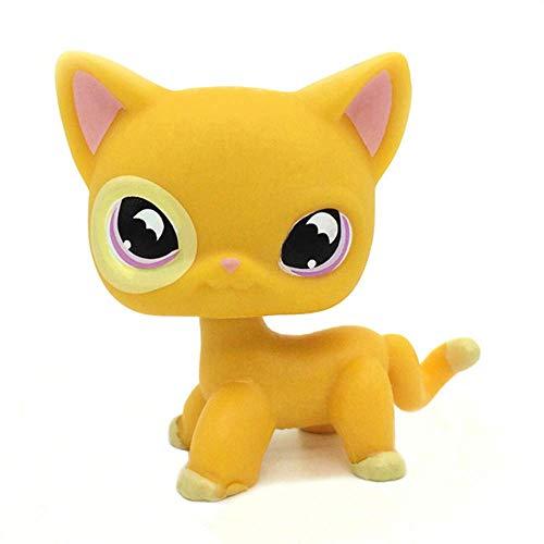 1PC Orange Yellow Short Hair Cat Purple Moon Eyes Animal Figure Gift LPS Rare Mini Pet Toys #855