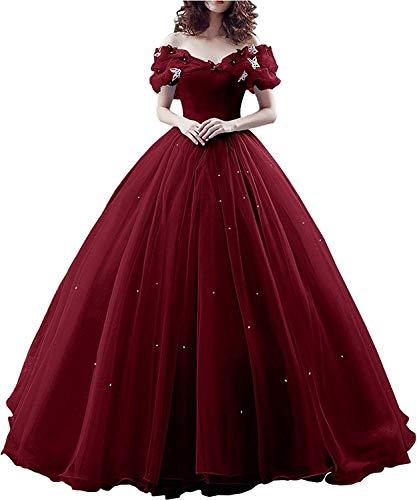 Vestito da Donna Principessa Abito da Sera per Cosplay in Organza con Lacci sulla Schiena Vestito da Partito di Natale Costumi