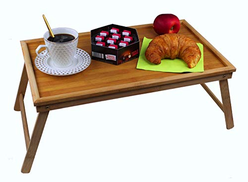 GMMH Original Ordinateur Portable Tablette en Bambou Support Pliant Table Plateau De Service Lit Plateau Petit Déjeuner Plateau Pliable Table De Lit Plateau