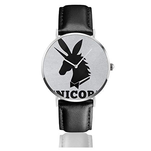 Orologio da polso unisex con motivo unicorno, stile casual, con logo Playboy, in pelle al quarzo, con cinturino in pelle nera, regalo per uomo e donna