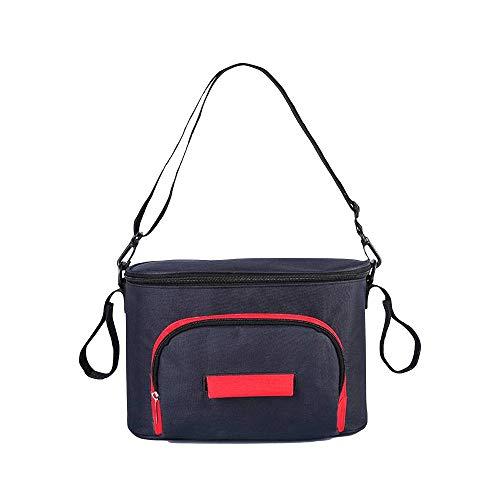 Organizador de cochecito de bebé, bolsa de almacenamiento para cochecito de bebé, bolsa de pañales universal con hebilla y velcro, color negro, resistente al agua negro negro