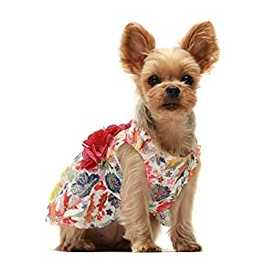 Fitwarm Flower Dog Dress for Pet Clothes Birthday Party Doggie Sundress Puppy Clothes Rose Pink Small
