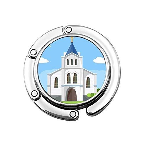 Geldbörse Kleiderbügel Geldbörse Haken Kirche Architektur Cartoon Gebäude Silhouette mit Kapelle Zaun Bäume flachen Sommer