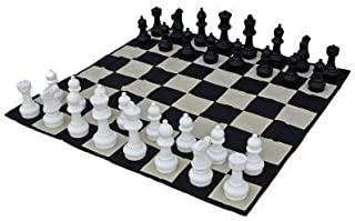 MegaChess 12 Inch Tall Chess Set and Chess Mat - Black and White - Plastic (King is 12