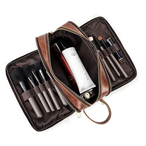Contactos de cuero para hombre bolsa de aseo resistente al agua Dopp kit de viaje durante la noche bolsa de lavado de baño cosmético organizador marrón
