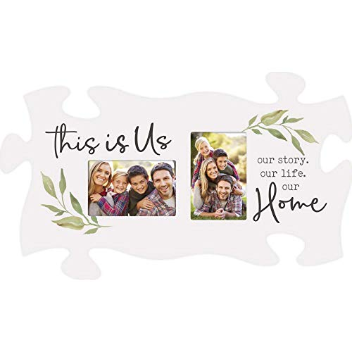 P. Graham Dunn This is Us Our Story Home Whitewashed 22 x 13 Wood Puzzle Piece Wall Frame