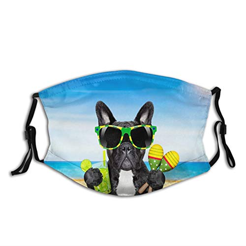 Fillter Face Cloth for adult,French Bulldog With Cocktail,Reusable Windproof Mouth Anti Dust Double Protection