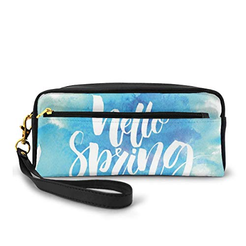 Pencil Case Pen Bag Pouch Stationary,Hello Spring Printed in White Hand Lettering Design on Watercolor Pastel Blue,Small Makeup Bag Coin Purse