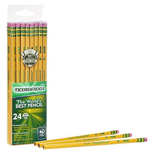 Ticonderoga #2 Pencils, Wood-Cased, 6 24-Count Hang-Tab Boxes, Total 144 Pencils, Yellow (13924) (13924N)