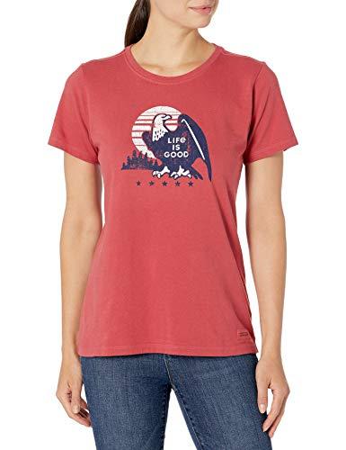 Life Is Good Crusher T-Shirt rétro pour Femme Motif Aigle XL Rouge délavé