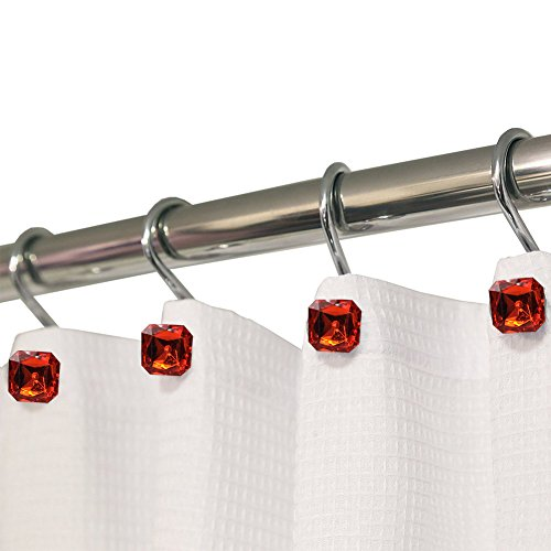 CHICTIE 12 Pieces Clear Square Ruby Diamond Shower Curtain Hooks Crystal Rings Set for Bathroom Rust Proof Chrome Decorative Red Gem Hangers