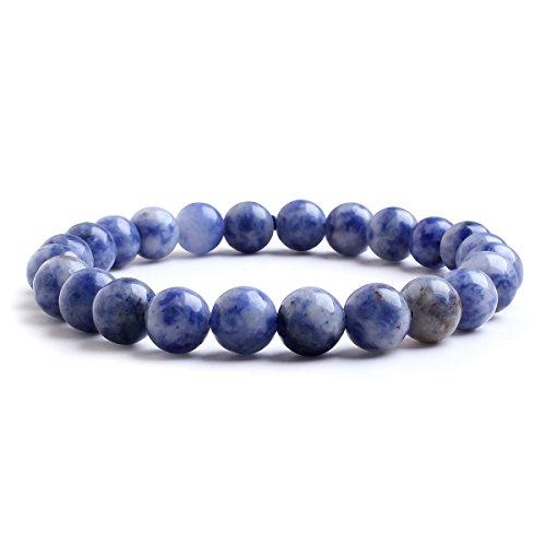 Candyfancy Dumortierite Pietra Naturale Blu Bracciale 8MM Perles Beads Bracciali Pietre Naturali Braccialetti Perline Rotondo Braccialetto Perla Donna Uomo