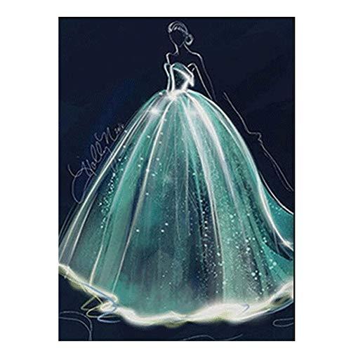 Puzzle-s 5D Diamant-Malerei volle Bohrgerät, DIY handgemachte Strass Stickerei-Kreuz-Stich for Zuhause-Wand-Dekor - Romantisches Hochzeitskleid s (Size : B)
