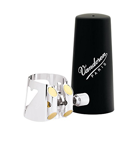 Vandoren LC01P Optimum Ligature and Plastic Cap for Bb Clarinet Silver Plated with 3 Interchangeable Pressure Plates