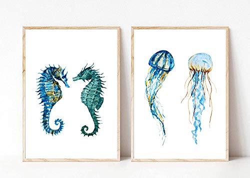 Din A4 Kunstdruck 2-teilig ungerahmt - Seepferdchen Qualle Meerestier Maritim Aquarell, Türkis, Grün Deko, Badezimmer Geschenk Druck Poster Bild