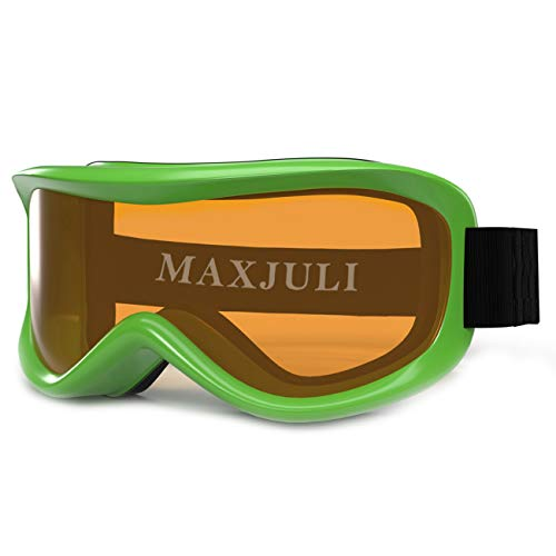 MAXJULI Kids Ski Goggles - Helmet Compatible Snow Goggles for Baby &Toddler with 100% UV Protection Age 0-4 (Green/Orange)
