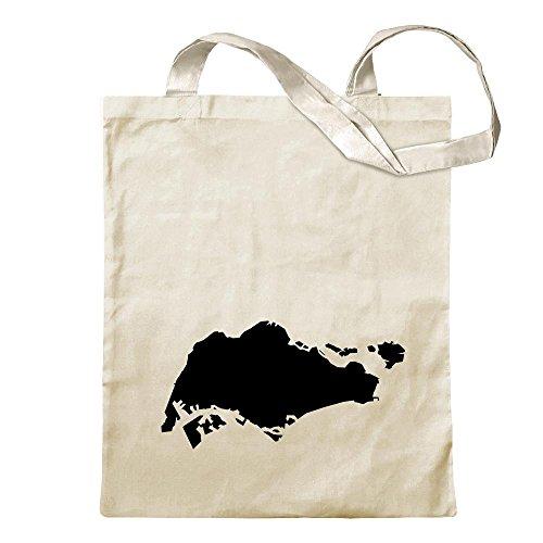 Kiwistar - Bolsa de Yute con Estampado de Contorno Singapur Beige Size: 30cm