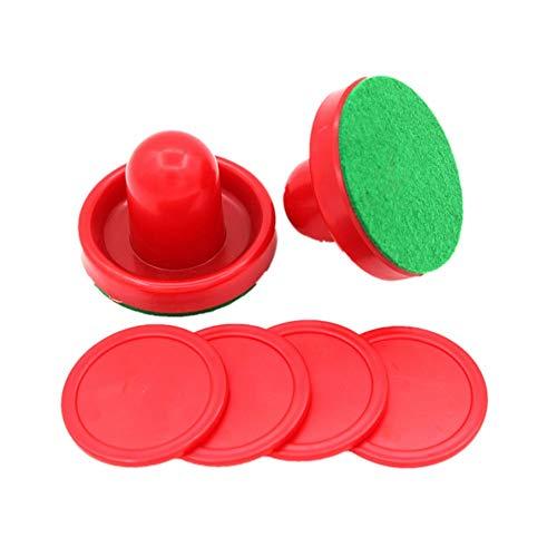 SUNREEK Air Hockey Drücker Set aus 2 und 4 roten Pucks (rot)
