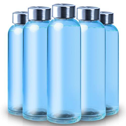 ShyaWorld Botella De Cristal para Agua Cuerpo de Acabado Transparente Tapón a Rosca en Acero Inoxidable. Cajas Individuales por Botella. (Azul, 500ml (5PCS))
